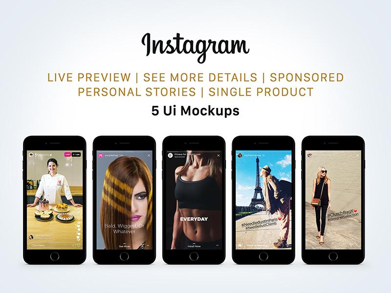 Free Instagram Sponsored, Live & Status Stories UI Mockup PSD