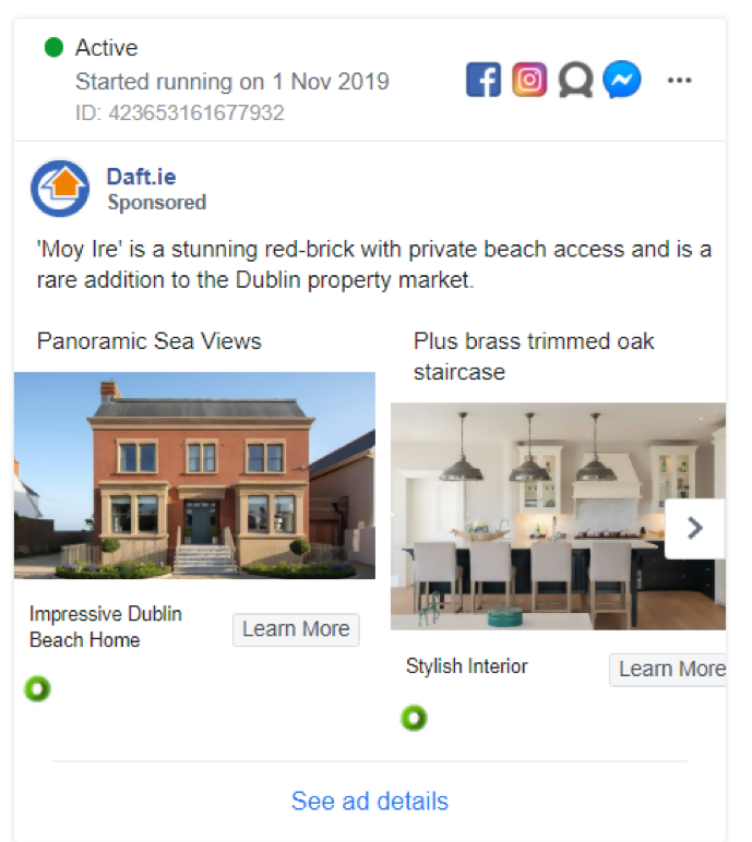 Daft.ie Real Estate Facebook Ad