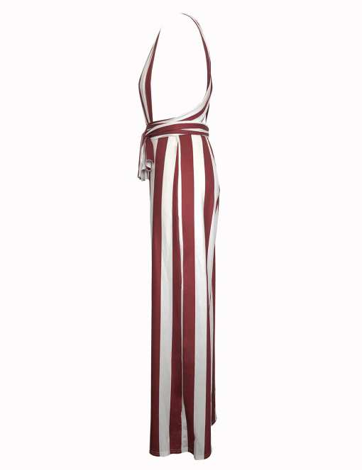 H195083 RD3 4 Elegant and Gorgeous  Wine Red Open Side Wide Strap Jumpsuit