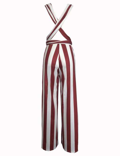 H195083 RD3 5 Elegant and Gorgeous  Wine Red Open Side Wide Strap Jumpsuit