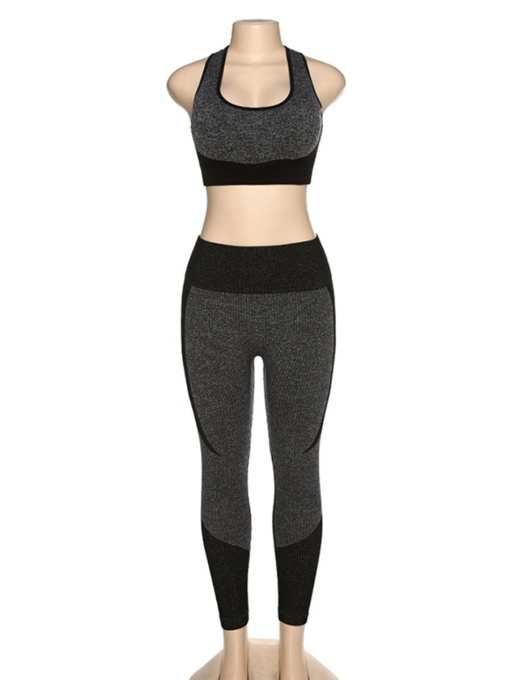 YD200306 BK1 3 Black High Waist Sweatsuit Splicing Cutout Outdoor Activity