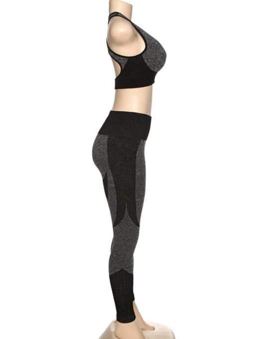 YD200306 BK1 4 Black High Waist Sweatsuit Splicing Cutout Outdoor Activity