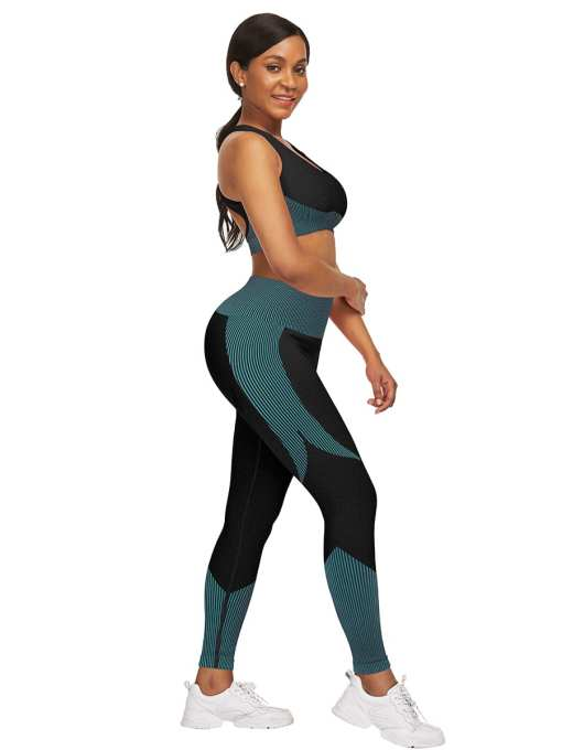 YD200306 BU8 5 Athletic and Fabulous  Strap Crop Top High Waist Leggings