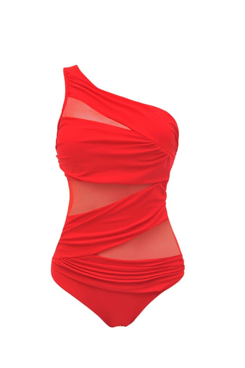 Amazing Exquisitely Red One Shoulder Swimsuit Plus-Size Chic features intricate shirring at the waist that drapes delicately across mesh netting to create an eye-catching slender form. Wireless and padded, give you a comfy feel. The Unique one shoulder style, make you more beautiful, fashion, sexy and elegant.