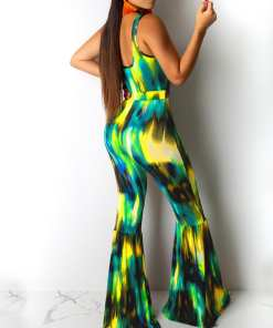 VIP Exclusive Yellow Bell-Bottom Sleeveless Wide Legs Jumpsuit