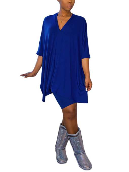 Loose Batwing Sleeve Solid Color Two Piece Cool
