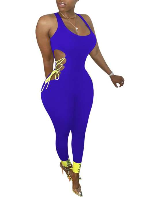 Snatched Eye-Catching Purple Hollow Out Romper Plunge Collar