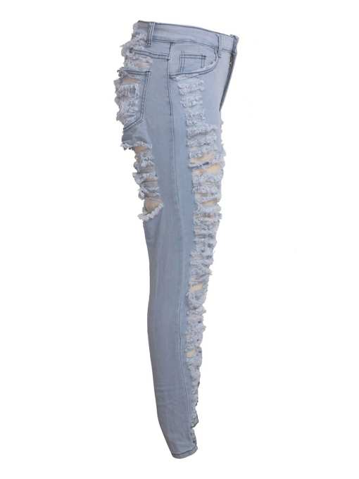 Shredded High Waist Stretch Ripped Denim Pants Slim