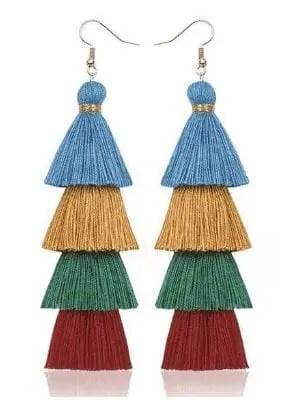 blue orange greem red Blue, Gold, Green, and Red Tassel Earrings