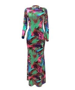 Dress: Fitting Graffiti Print Evening Dress Zipper Form Fit