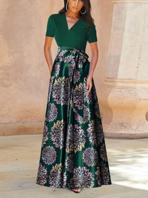 Elegant Body Hugging Black Swing Hem Flower Print Evening Dress