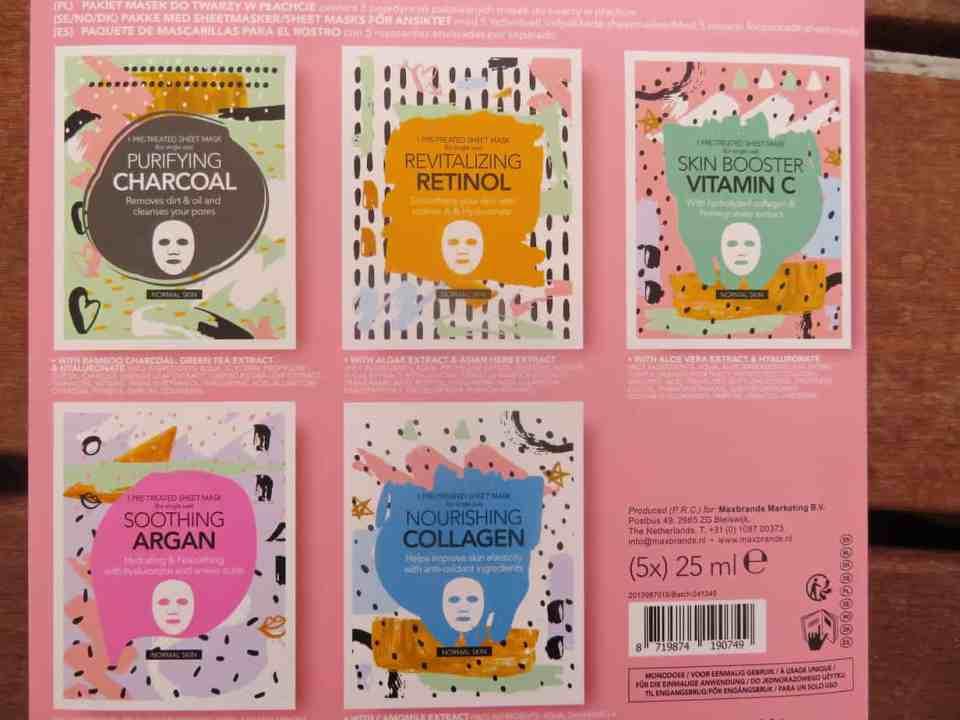 Het overzicht van de 5 maskers in het Action face sheet mask book