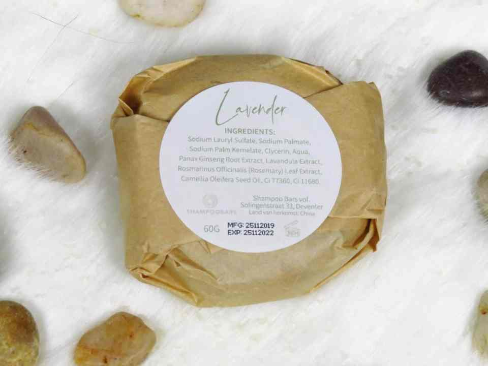 ingrediënten shampoo bar, SLS, sulfaten, glycerine, shea butter, citroen extract, olijfextract, lavendel geurstof