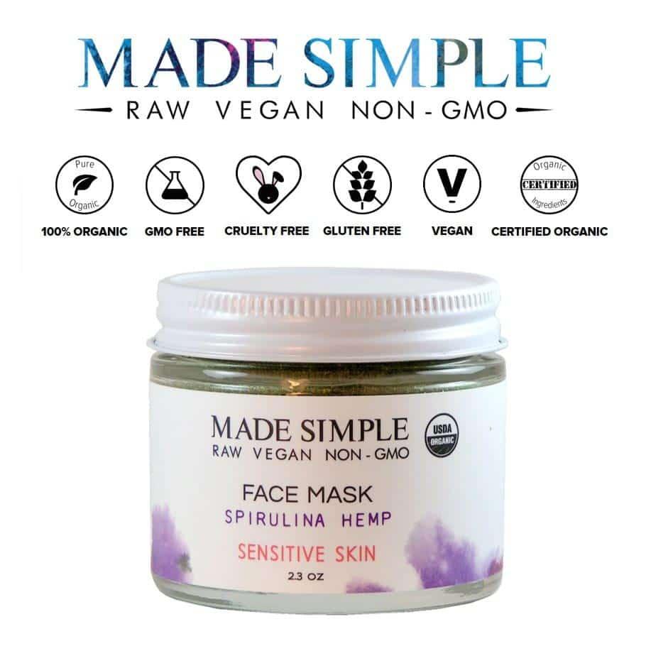 *MADE SIMPLE – SPIRULINA HEMP USDA ORGANIC FACE MASK | $25 |