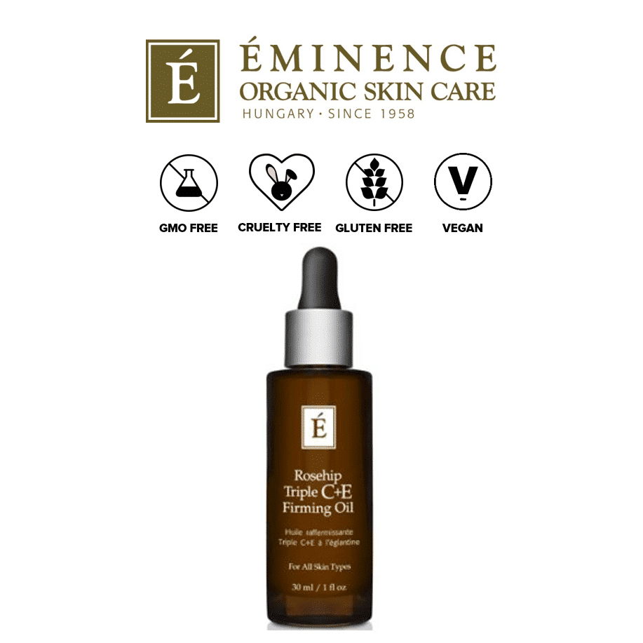 *EMINENCE ORGANICS – ROSEHIP TRIPLE C+E FIRMING OIL | This natural formula uses tetrahexyldecyl ascorbate as its form of Vitamin C. This is a very stable form of Vitamin C which behaves similarly to L-ascorbic acid (the premium form of Vitamin C). As a fat-soluble form of Vitamin C, it is noted that it may be more easily absorbed by the skin than water-soluble forms. The wonderful thing about this formula from Eminence is that is also contains natural ingredients which are great for reducing inflammation (for rosacea) and brightening the skin (for dark spots). These ingredients include rosehip seed oil, seabuckthorn oil, rosemary leaf, and jojoba oil. |