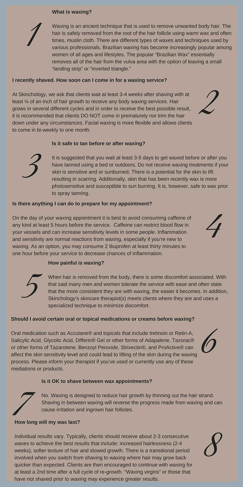 brazilian wax frequently asked questions