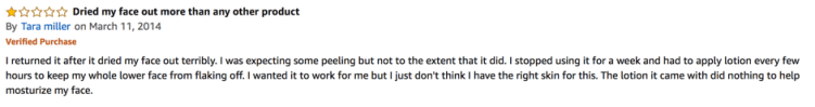 Another negative customer review on Exposed Skin Care
