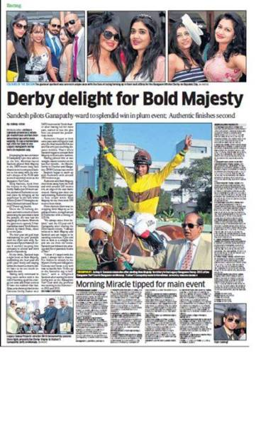 Coverage by Deccan Herald - The Bangalore Winter Derby on Republic Day 2015