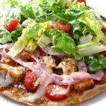 bbq chicken pizza with salad