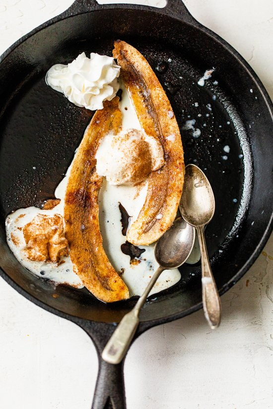 Baked Bananas with ice cream.