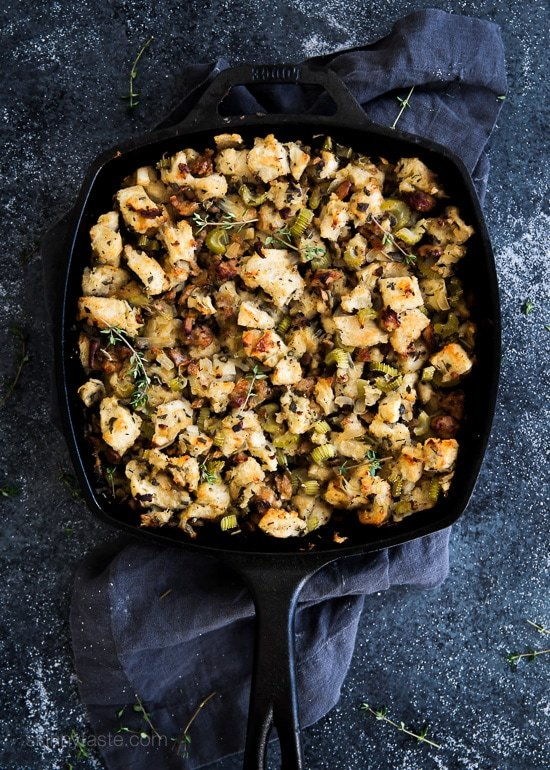 Chicken Sausage and Herb Stuffing – this is the best Thanksgiving stuffing recipe!