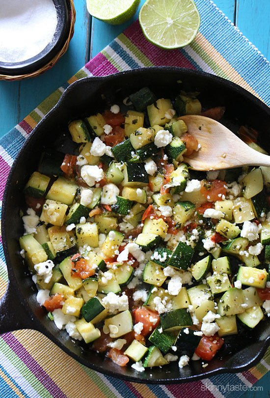 This zucchini is incredibly delicious with a little bit of a Mexican kick from the jalapeno then topped with melted queso blanco. It's also easy and quick, a must try!