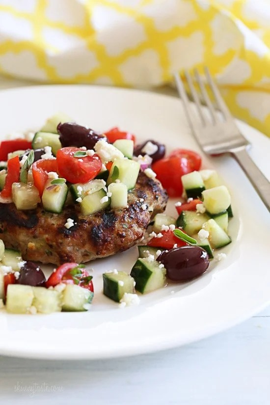 Naked Greek Feta-Zucchini Turkey Burgers are so juicy, thanks to my secret ingredient, grated zucchini!