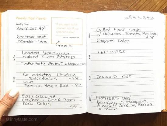 Easy healthy Skinny Taste dinner meal plan for the week