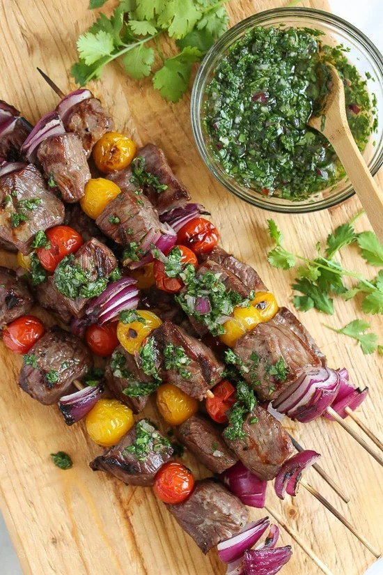 Grilled Steak Kebabs with Chimichurri-4