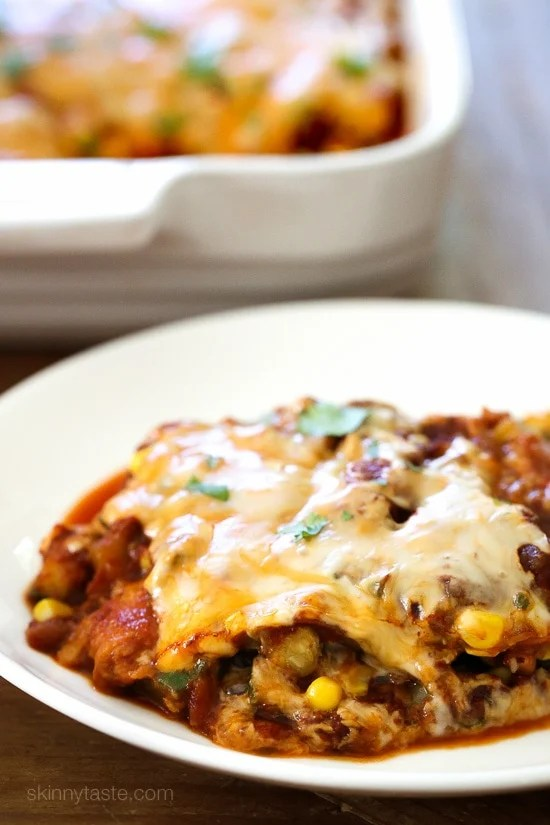 A saucy, lasagna-like Mexican-American casserole layered with vegetables, tortillas, sauce and cheese.