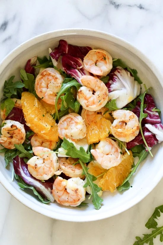 Grilled Shrimp Salad with Orange, Endive, Baby Arugula and Radicchio is the perfect light salad for Spring!