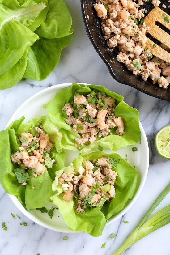 "Laap (also known as Larb) is regarded as the ""unofficial"" national dish of Laos. It's made with many different minced meats including duck, pork, turkey but I really love this combination of chicken and shrimp. It's low-carb, Paleo-friendly, Whole 30 approved, loaded with flavor and so fast and easy to make!"