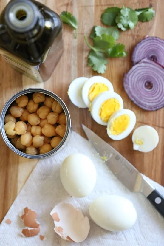 This easy chickpea and egg salad is so simple and delicious for lunch (or breakfast!). It's inexpensive to make, high in protein and fiber and great to make ahead for the week.
