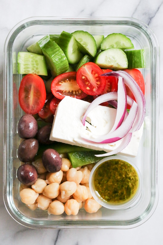 Greek Chickpea Salad, made with chickpeas, cucumbers, tomatoes, bell peppers, olives and Feta is perfect to make ahead, for lunch for the week!