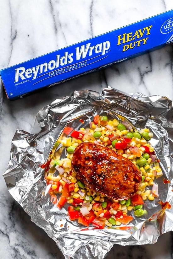 Easy foil packet meatloaf dinner.