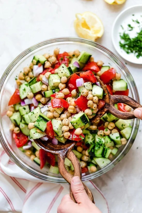 This healthy, summer Chickpea Salad with cucumbers and tomatoes is great for lunch or as a side dish with anything you're grilling!