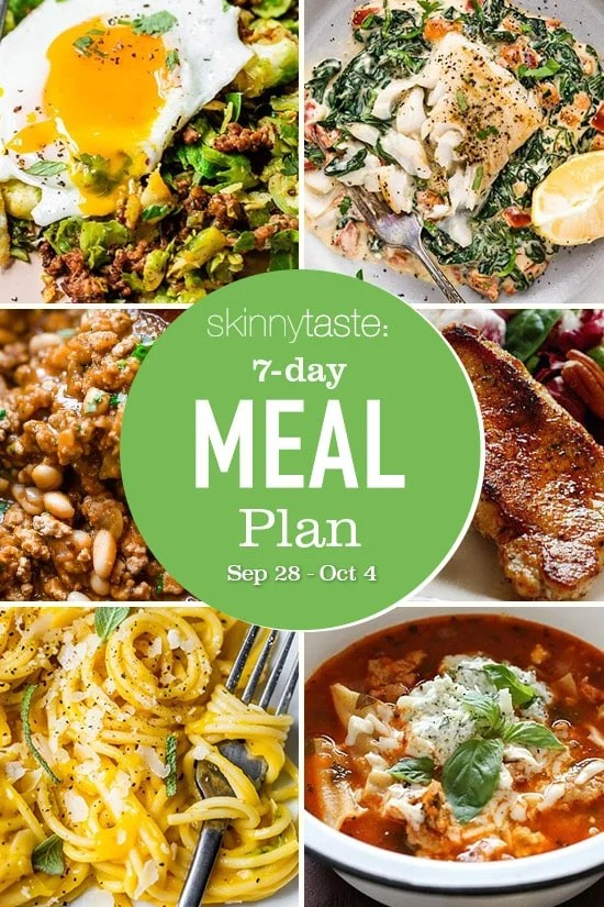 7 Day Healthy Meal Plan (Sept 28-Oct 4)