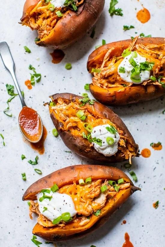 Chicken Enchilada Stuffed Sweet Potatoes
