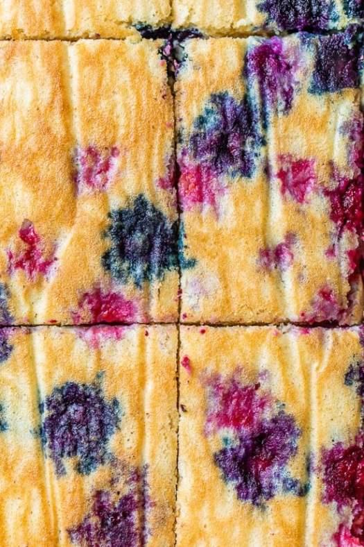 close up of sheet pan berry pancakes