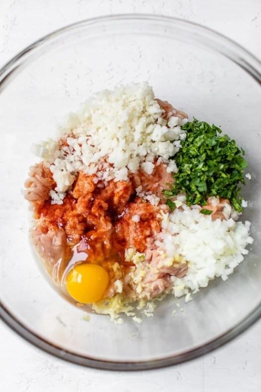 Chicken Meatballs raw ingredients.