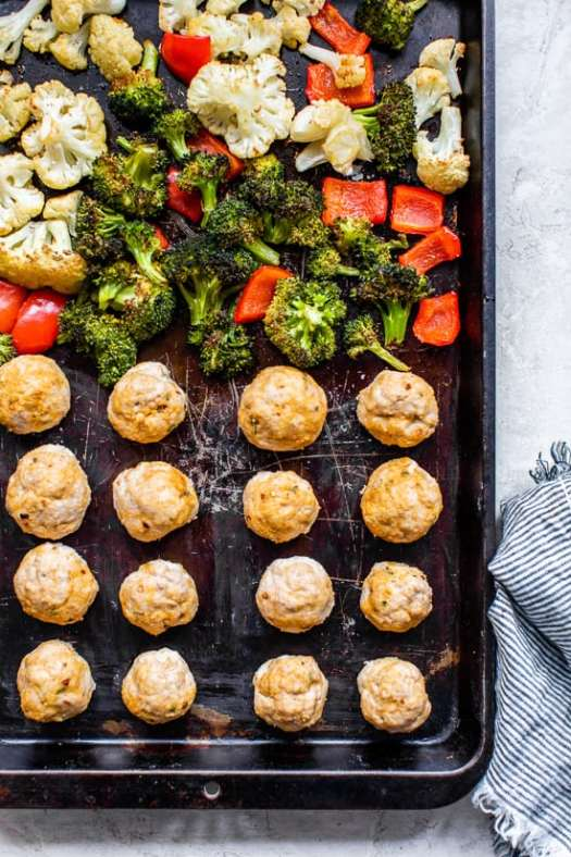 Enjoy this Italian Turkey Meatball Sheet Pan Dinner with the most tender turkey meatballs made from scratch and seasoned vegetables for an easy meal.