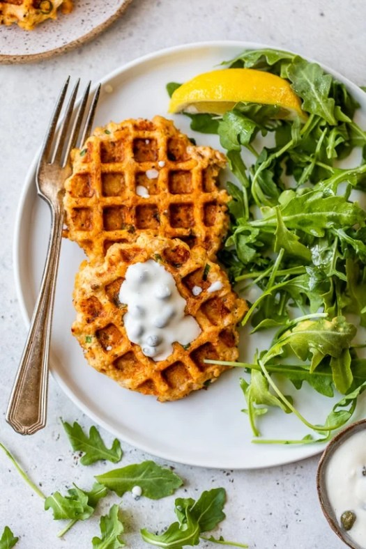 Waffled Salmon Cakes with arugual and lemon