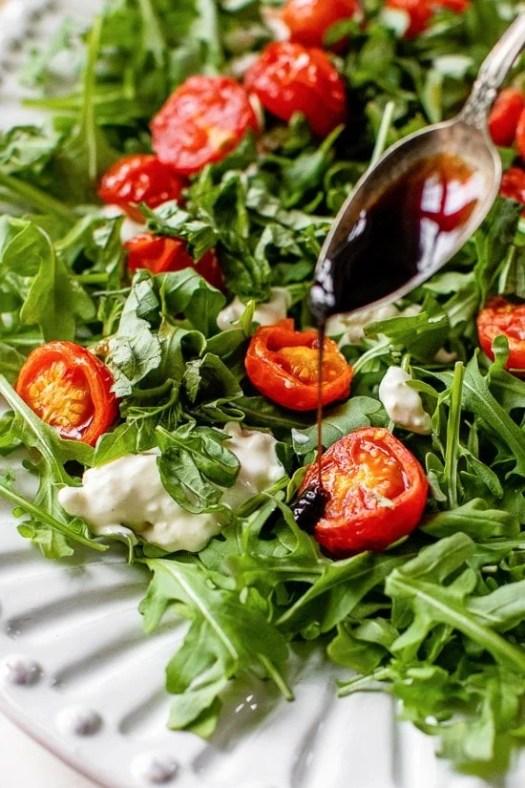 Air Fryer Burst Tomato Burrata Caprese Salad