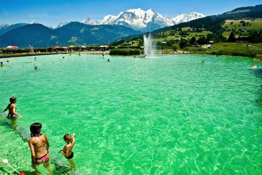 The beautiful swimming lake at Combloux