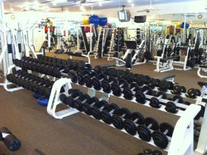 Dumbbells inside gym