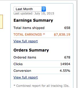 amazon affiliate site earnings