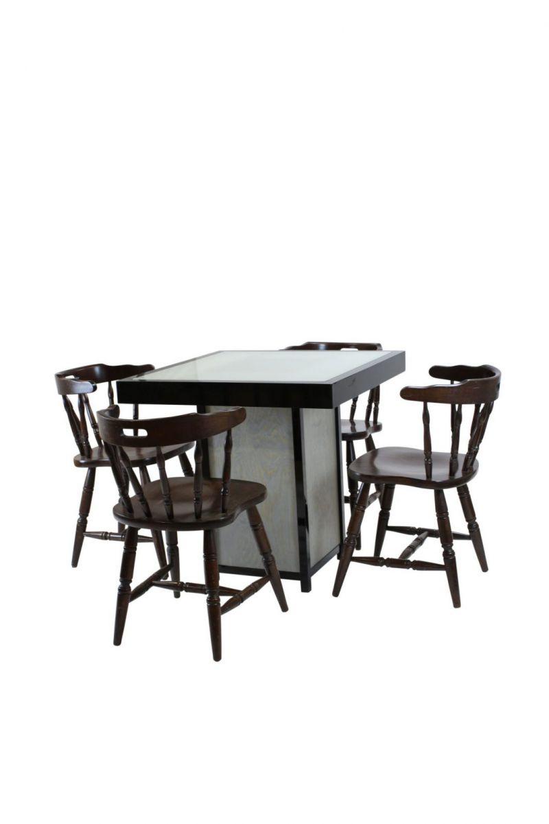 Terrastafel kolom zwart – Grey / Wood