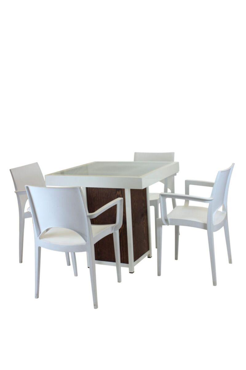 Terrastafel kolom wit – Grey / Wood