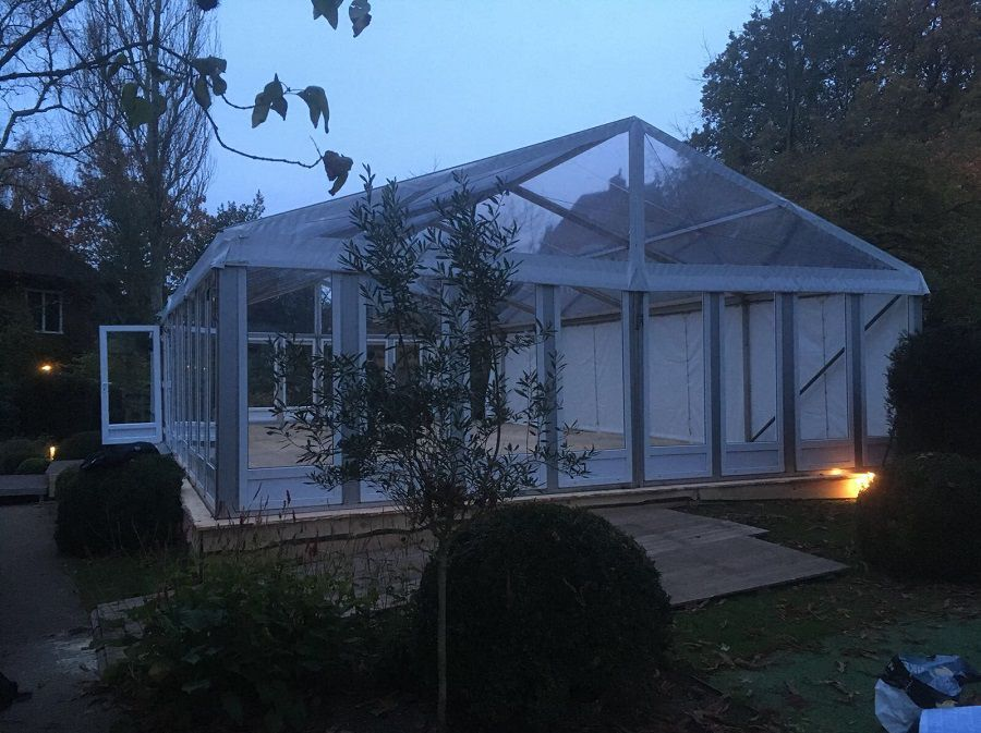 Alu-frame glastent 6 meter breed