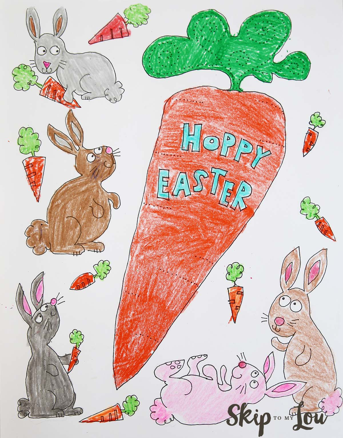 Bunnies Coloring Page For Easter